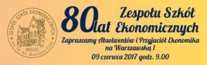 logo wydarzenia 80 lat Zespołu Szkół Ekonomicznych w Mielcu
