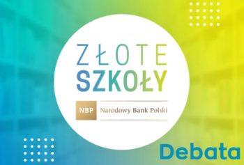 Logo konkursu Złote szkoły NBP, debata szkolna